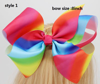 Wholesale Metal Ribbon Clip - new arrival Jojo Siwa 8 Inch Handmade Rainbow Grosgrain Ribbons hair bow Metal Alligator Clip For Girls,Toddlers Teenager Women 20pcss
