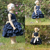 Wholesale Taffeta Dress First Communion - Custom Made Taffeta Toddler Pageant Dresses with Bow Flower Girls Dresses For Weddings 2017 Cute Ball Gowns First Communion Dresses