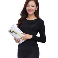 women s thermal sets 도매-도매 - 100 % 순수 실크 여성의 긴 존스 여성 겨울 가을 숙녀 따뜻한 가정 의류 열 속옷 세트 여성 바디 정장을 설정