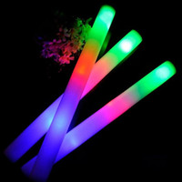 Wholesale Led Baton Wholesale - LED Glow Foam Stick Colorful Flashing Batons Multi Color Light-Up Sticks Festival Party Decoration Concert Prop Free Shipping