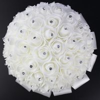 Wholesale Unique Brides - Unique Style Elegant Wedding Bridal Bouquet Flowers with Crystal Hot Sale Rose Petals Artificial Wedding Flowers In Stock CPA818