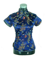 Wholesale Flower Stories - Shanghai Story Women's cheongsam top traditional Chinese Blouses Satin Top dragon and phoenix blouse top flower embroidery qipao shirt