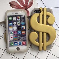Wholesale Dollar Iphone Case - 3D US Dollar Soft Silicone Case For Iphone 7 Plus 6 6S 6Plus SE 5 5S Cool Bill Money US Coins Gold Glitter Fashion Bling Covers Skin+Strap