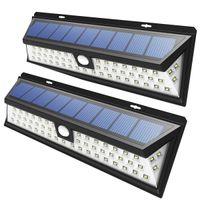 Wholesale sensor side - 54 LED Solar Motion Sensor Light Outdoor Wall Lamp Waterproof Solar Powered Light with 3 Intelligent Modes 3 LEDs Both Side for Gadern Patio