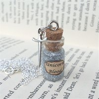 South American blood chains - 12pcs Silver Unicorn Blood Bottle Necklace Pendant inspired by HP