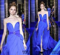 zuhair murad mavi kırmızı elbis toptan satış-2017 Yeni Zuhair Murad Couture Mavi Bölünmüş Abiye Sevgiliye Şifon Backless Basit Son Kıyafeti Tasarım Kırmızı Halı Parti Elbise