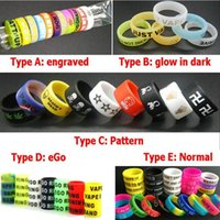 Wholesale Ego Oem - Vape Band Silicone Ring Rubber Silicon Rings Non-Slip eGo Engraved Glow in The Dark for Mechanical Mods Decorative and Protection OEM DHL