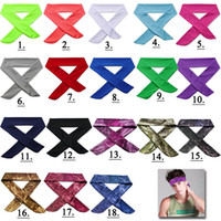 Wholesale Cotton Hair Tie - Solid color camo Printing Tree Patten Cotton Stretch Headband Sweatband Hair Band Tie Back Moisture Wicking Workout 18 color Free DHL