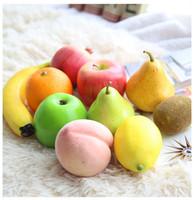 decorações de limão venda por atacado-Modelos artesanais de frutas artesanais lemon maçã modelos de pêssego banana kiwifruit para decoração de casa lojas supermercados jardim de infância