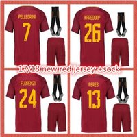 Wholesale Number Sleeve - New 2017 18 Short Sleeve Soccer Jersey Men's Jersey Print Name and Number DZEKO I STROOTMAN NAINGGOLAN PERES TOTTI Quick Delivery +sock