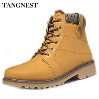 Wholesale Red Workers - Wholesale- Tangnest 2016 Winter New Men Boots Fashion Keep Warm Plush Ankle Boots For Worker Waterproof Cotton Shoes Man Size 39~45 XMX574
