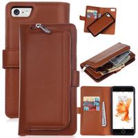 Wholesale Iphone Magnet Wallet Cases - 2 in 1 Magnet Detachable Removable Zipper Leather Wallet Case Cover for iphone 6 6s plus 7 7 plus Galaxy s6 s6 edge s7 s7 edge 1pcs lot