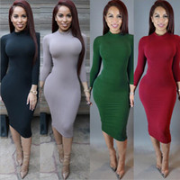 Wholesale Women s Sexy Slim Fashion Europe Style High Neck Clubwear Night Wear Bodycon Dresses Colors women Long sleeved solid color bandage dress