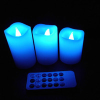 Wholesale Colored Led Tealight Candles - 3 Pcs  Set Wax Wireless Remote Control Electric Color Changed LED Tealight Candle Flameless Candles Tea Lights Wax Lamp