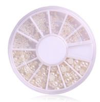 Wholesale 3d Ceramic Nail Art - Wholesale-New One Wheels 3d Nail Art Pearl 4 Size 1.5 2 3mm Clear Ceramic New Arrival Tips Decorations Nail Art Rhinestones Nail Tools