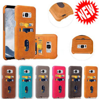 Wholesale Hard Plastic Credit Card Case - 3 Credit Card Slot Hard PC PU Leather Case For Samsung Galaxy S8 Plus Iphone X 8 7 7Plus 6 6S Plus Hybrid Cover Skin Pocket Fashion 100pcs