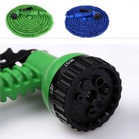 Wholesale Hose Expandable Nozzle - 100FT Expandable Flexible Garden Magic Water Hose With Spray Nozzle Head Blue Green with retail box Free Shipping