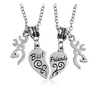 Wholesale American Buck - 2017 new Buck Pendant necklace Best Friends Letter Engraved Necklace jewelry friends Gift