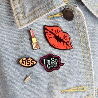 Wholesale Pinback Button Set - 4PCS Set Cartoon Kiss Letter Metal Brooch Pins Badge Pinback Button Cute Acrylic Brooch Gift Men Women Unisex Jewelry Gift 2017 Wholesale