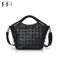 Wholesale Lady Goats - Wholesale- Retro Rivet Patchwork Women Genuine Goat Leather Top-Handle Shoulder Bag Lady Elegant Tote Handbag female business crossbody bag