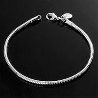Wholesale China Wife - hot wholesale 3MM 925 Sterling Silver Plated Snake Chains Bracelet fit European Beads for girlfriend boyfriend wife gift