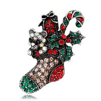 Vintage Crystal Christmas Boots Brooch Buckle Retro Gift Bijoux Natal Gold Plated Broches de strass colorido Moda feminina Jewlery