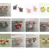 Wholesale Tree Crystal Stud Earrings - Clearance Sale !Lovely Santa Christmas Tree Snowman Boot Ladies Girls Fashion Mixed Styles Earrings High quality Holiday Gifts Wholesale