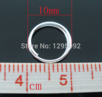 300PCs Plaqué Argent Double Loops Open Jump Rings Charms Jewelry Findings Component Wholesales 10mm en gros