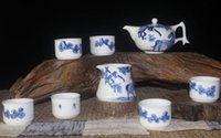 Wholesale Horse Tea Set - Blue and White Porcelain Tea Set with Chinese Fine Brush Handpainted Monkey and Horse Painting CN-043
