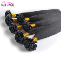 """Wholesale Nail Tip Natural Hair Extension - U Tip Human Hair Extensions Malaysian Virgin Hair Straight Keratin Nail Stick Nail Tip Remy Natural Black Color 20''22""""24inch"""