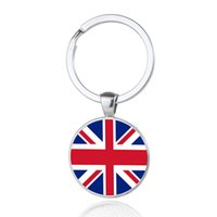 Wholesale Uk Flag Bag Man - UK Nation Flag Keychains Glass Cabochon Car Key Bag Accessories Western Europe Countries Flags Keyings Wholesale New Arrival