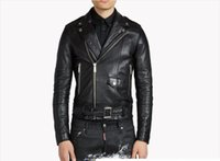 Wholesale Mens Leather Down Coat - Men Harley Leather Jacket Turn-down Collar Jackets Masculina Mens Lapel Neck Leather Jackets Skull Punk Veste Homme Motorcycle Coat