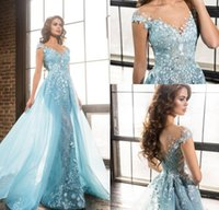 Wholesale Delicate Mermaid V Neck - Delicate Ice Blue Mermaid Prom Dresses with Detachable Train 2017 V Neck Vintage Lace with Beads Overskirt Long Formal Evening Gowns