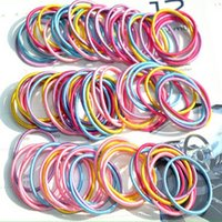 Wholesale Ponytail Hair Rope - Wholesale- 100pcs lot Multicolor Baby Girl Kids Tiny Hair Bands Ropes Elastic Ties Ponytail Holder Hair Accessories NA979