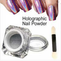 Wholesale wholesale shimmer nail polish - 1g Box 3D Shiny Glitter Silver Pigments Holographic Laser Powder for Nail Art Gel Polish Rainbow Chrome Shimmer Dust