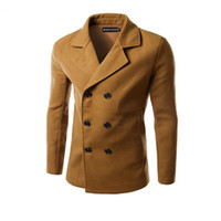 Wholesale Double Breasted Coat Camel - Wholesale- Men Woolen Coats camel Jackets Double breasted Male Manteau Homme Overcoat Fashion Brand Warm Long Sleeve Pea Coat Stand Collar