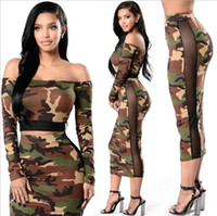 Wholesale Wholesale Price Short Dress - Women's Two Piece Bodycon Pencil Dress Ladies Camo Hip Slim Dresses Off Shoulder Short Tops + Stretchy Lace Skirts Wholesale Price Mix order