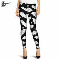 Wholesale interesting pants - Wholesale- Hot Sale Gray Bat Print Style Slim Colorful Casual Summer Gothic Leggings Interest Print Leggings Lady Sexy Pants F333