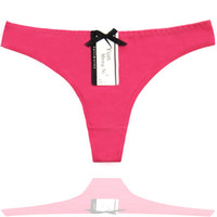 Wholesale Beautiful Lace Panties - Sexy Thongs Two Plain Colors G-String Breathable Cotton Women's Panties Lady Beautiful Thongs Multi Colors Mixed