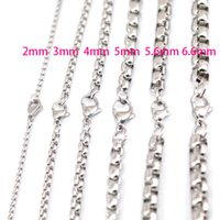 Wholesale Pearl Gift Boxes - 5pcs 2mm 3mm 4mm 5mm 5.6mm 6.6mm Stainless Steel box Necklace Chain For women men locket pendant