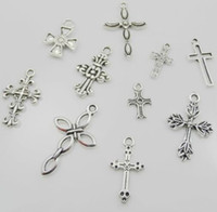 Wholesale cute mic for sale - Group buy MIC New Styles Mic Tibetan Silver Cute Flower Design Cross Charms Pendants for Jewelry DIY Findings Components
