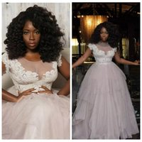 Wholesale 2017 African Style Sheer Shoulder Lace Wedding Dresses Cap Sleeve Bridal Gowns Tulle Plus Size Puffy Skirt Wedding Vestidos De Novia