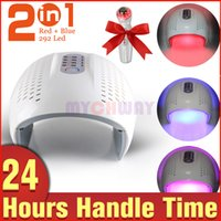Wholesale Ultrasonic Led Facial Device - 2 Colors 292 LED Red Blue Infrared Light PDT Facial Care Skin Rejuvenation Lamp Machine+Ultrasonic Photon Home Use Device
