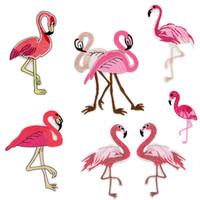 Wholesale Embellishments Stickers - 2 pcs New flamingo embroidery cloth stickers bird cartoon sewing sticks DIY clothes patch bag hat decoration cheongsam embellishment