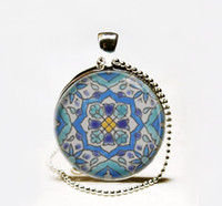Pendant Necklaces moroccan gifts - Hot Sale Moroccan tile Necklace Spanish tile art pendant Glass cabochon Necklace Mediterranean ceramic tile design necklace jewelry