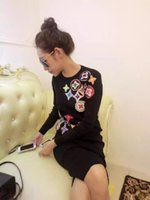 Wholesale Long Slim Black Skirt - Women's Autumn Winter brand clothes knitted sweater skirts suits Female embroidery long sleeve tops and Skirt 2 piece sets