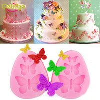 Wholesale Butterfly Candy Mold - Butterfly Mold Silicone Fondant Cake Mold Soap Mold Chocolate Candy Mould Moulds DIY Decorating Baking Pink Kitchen Tools