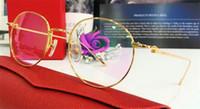 Wholesale Transparent Glasses Rimless - Fashion designer glasses frame 18k metal round retro optical glasses transparent flat lens with original box EYP00005