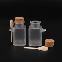 Wholesale Wooden Bottle Container - 45pcs Lot Promotion 100ml g Empty Plastic Facial Mask Container,Bath Salt Bottle With Wooden Spoon Refillable Packaging Jar