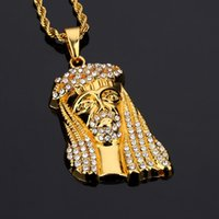 Wholesale 14k Gold Cz Pendant - 2017 Mens Iced Out Jesus Pendant Necklace Rhinestone CZ Stone Jesus God Head Necklaces Hip Hop Crystal Jewelry Twist Chains Gift